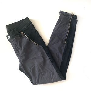 7 For All Mankind Ankle Zip Jeans 28 Black Gray